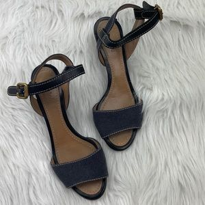 Chloe Open Toe Leather & Canvas Wedge Sandals